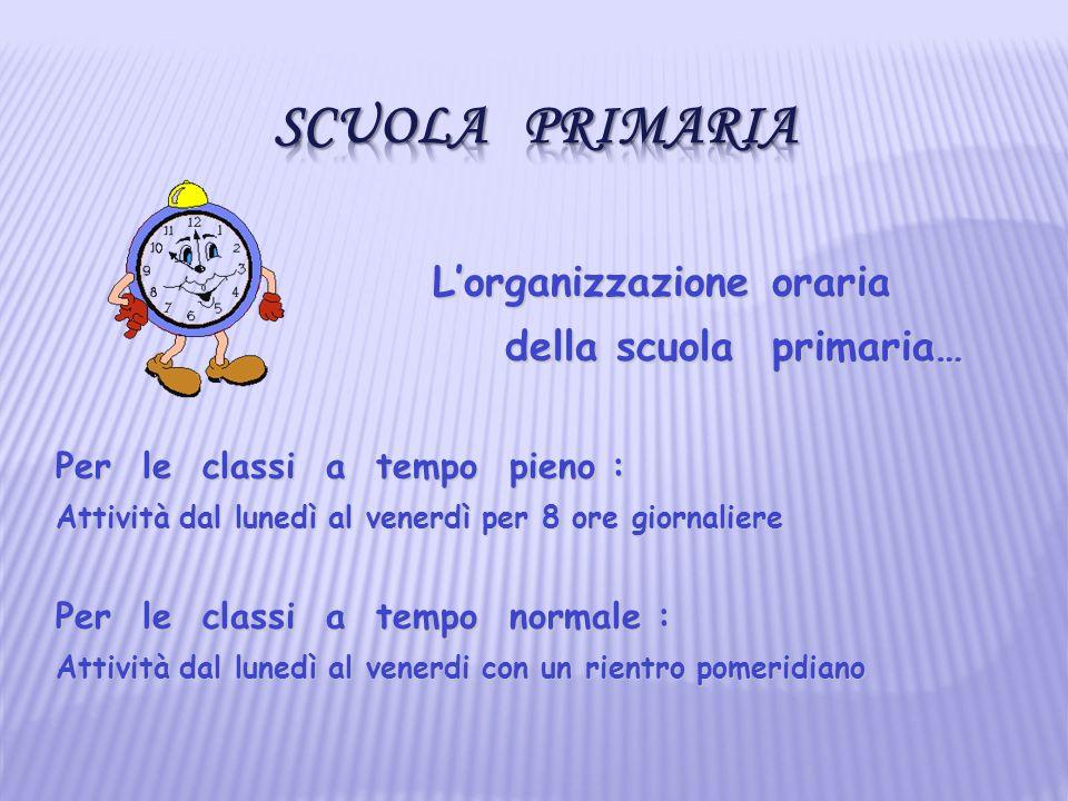Scuola Primaria L'organizzazione oraria della scuola primaria…