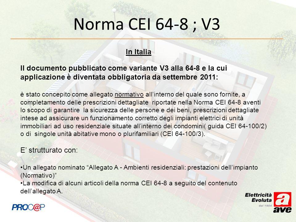 Norma CEI 64-8 ; V3In Italia. Il documento pubblicato come variante V3 alla 64-8 e la cui applicazione è diventata obbligatoria da settembre 2011:
