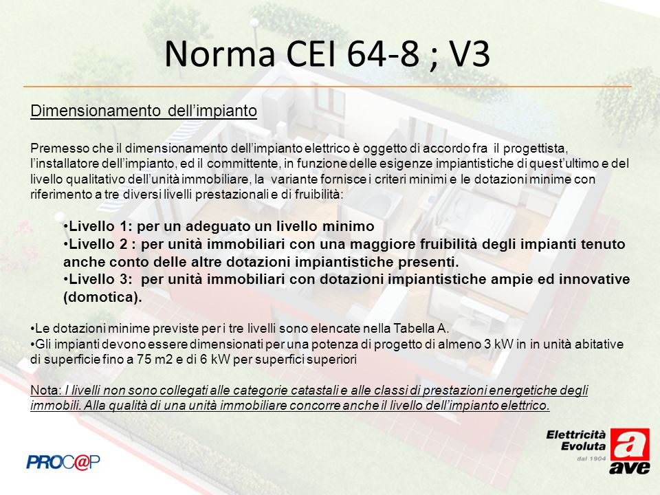 Norma CEI 64-8 ; V3 Dimensionamento dell'impianto