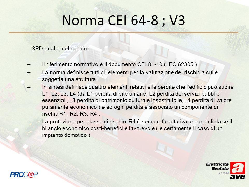 Norma CEI 64-8 ; V3 SPD analisi del rischio :