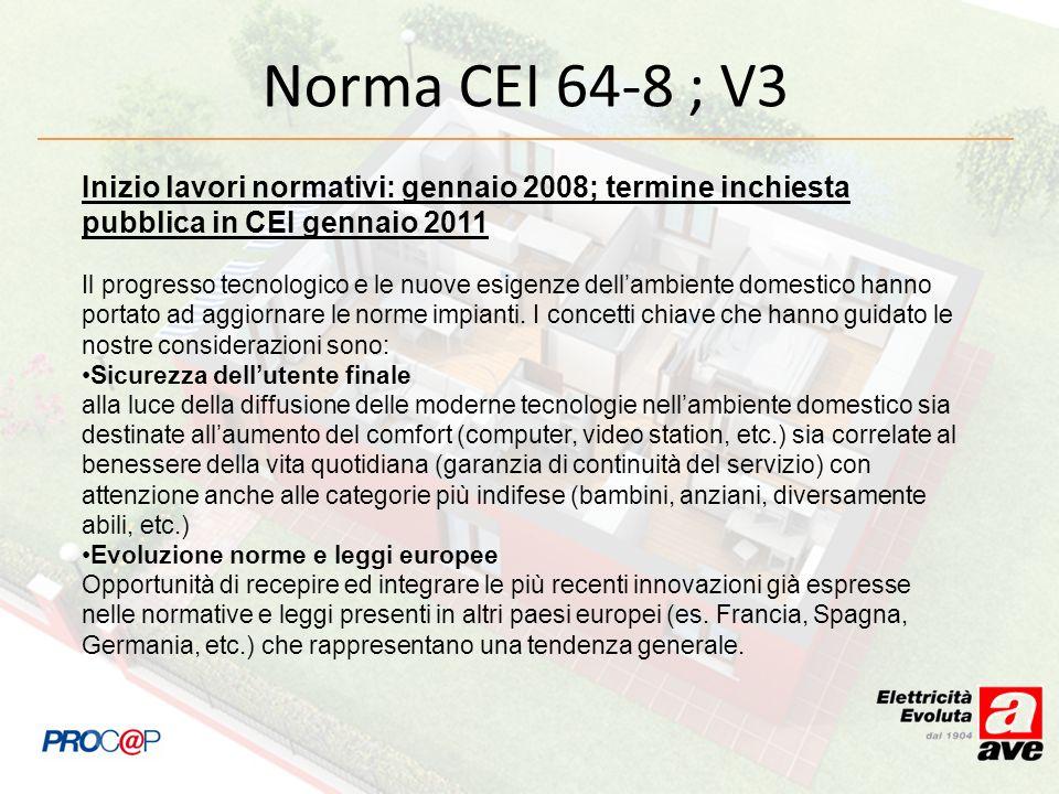 Norma CEI 64-8 ; V3 Inizio lavori normativi: gennaio 2008; termine inchiesta pubblica in CEI gennaio 2011.