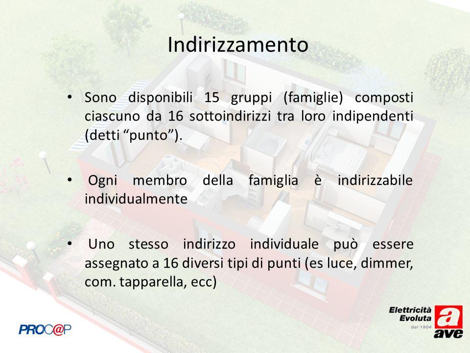 Indirizzamento Sono disponibili 15 gruppi (famiglie) composti ciascuno da 16 sottoindirizzi tra loro indipendenti (detti punto ).