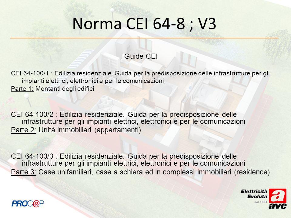 Norma CEI 64-8 ; V3 Guide CEI.