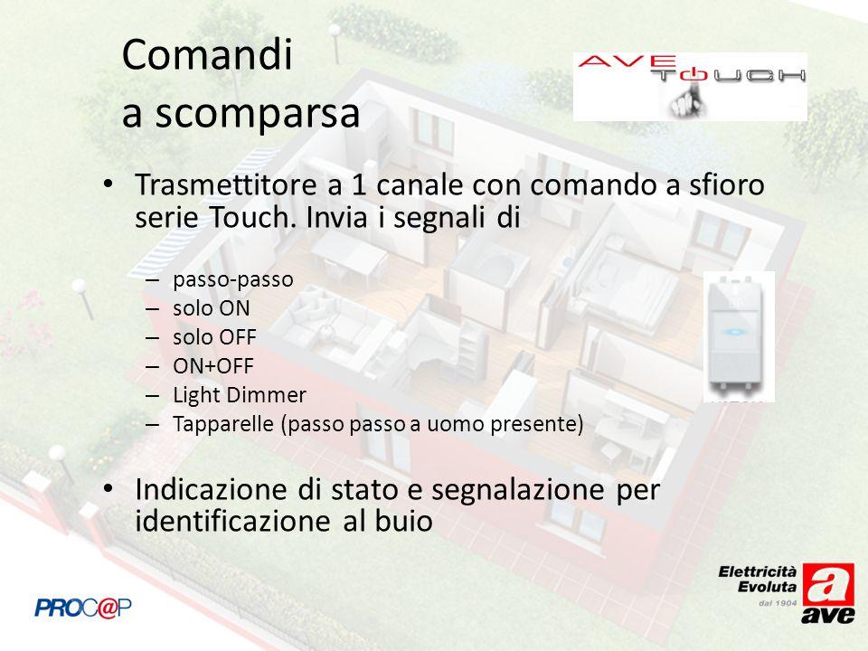 Comandi a scomparsa Trasmettitore a 1 canale con comando a sfioro serie Touch. Invia i segnali di. passo-passo.