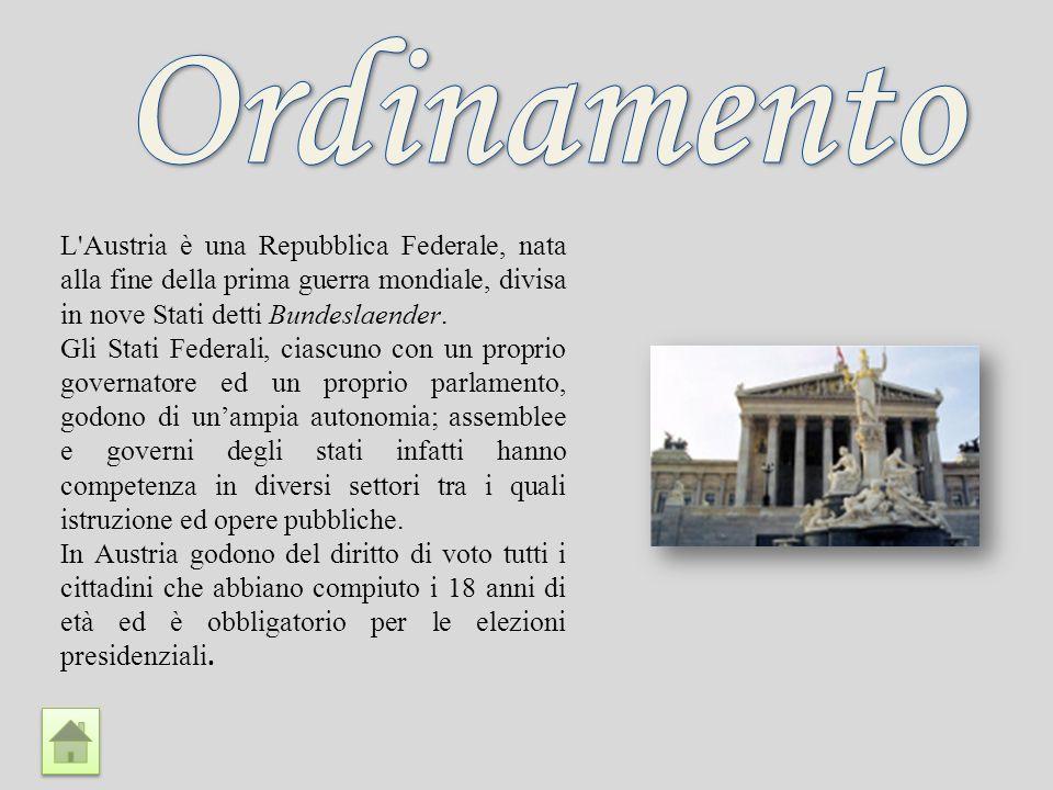 Ordinamento L Austria è una Repubblica Federale, nata alla fine della prima guerra mondiale, divisa in nove Stati detti Bundeslaender.