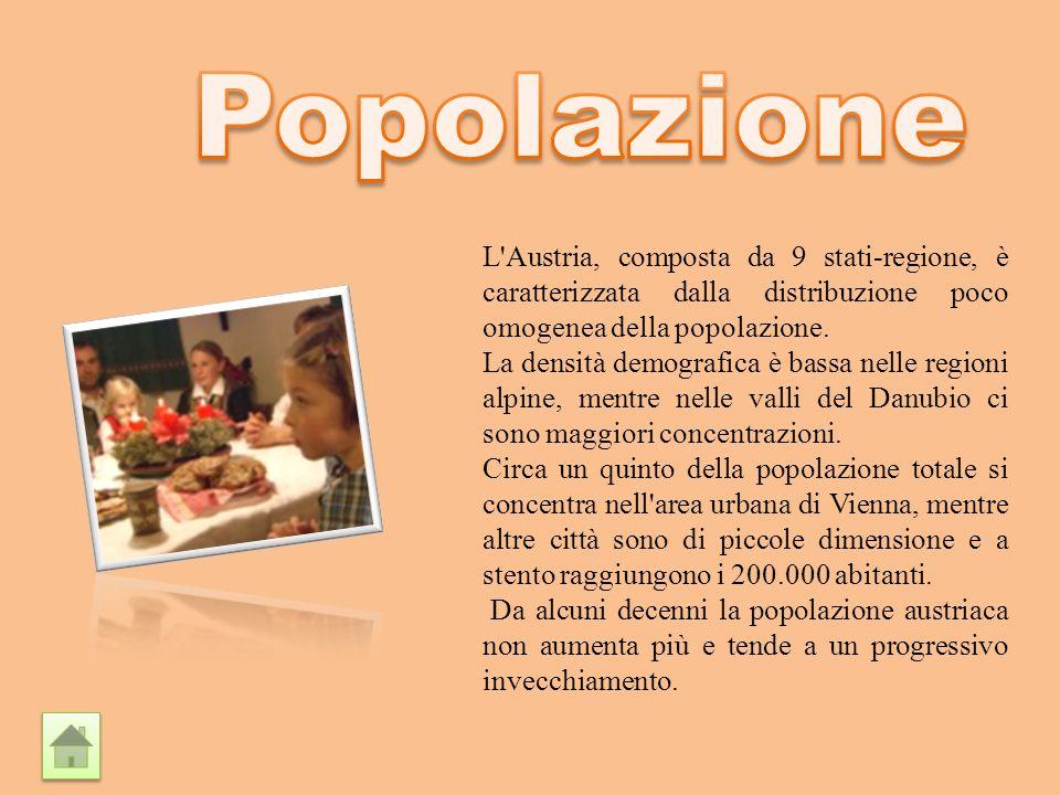 Popolazione L Austria, composta da 9 stati-regione, è caratterizzata dalla distribuzione poco omogenea della popolazione.