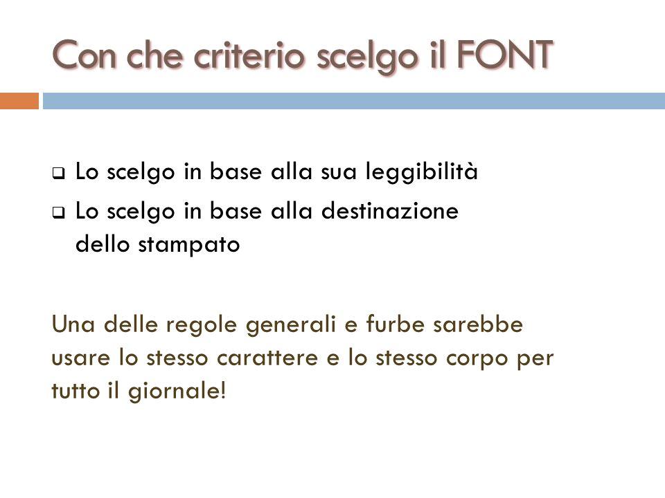 Con che criterio scelgo il Font