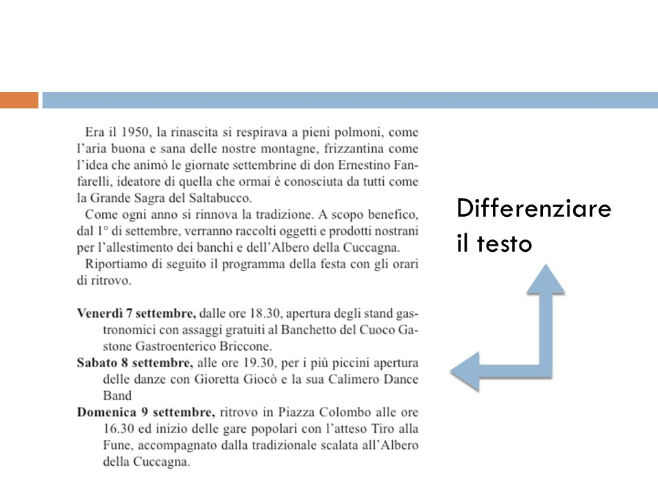 Differenziare il testo