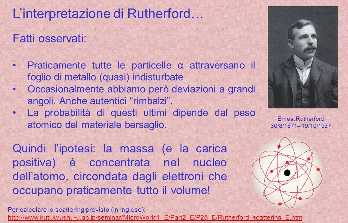 L'interpretazione di Rutherford…