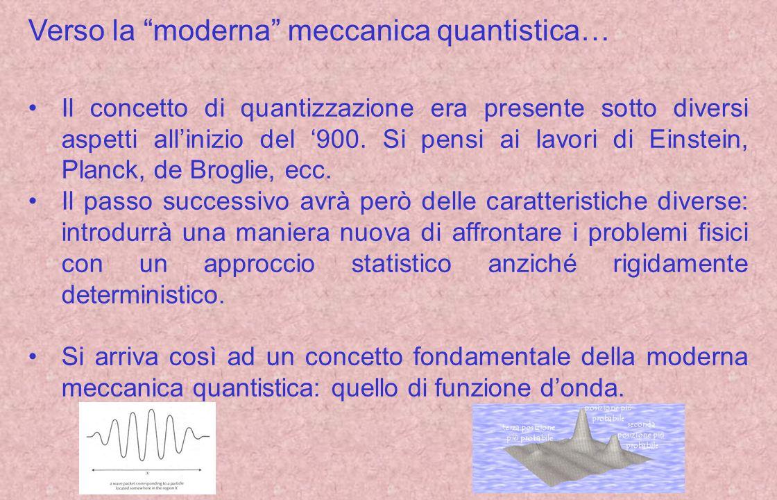 Verso la moderna meccanica quantistica…