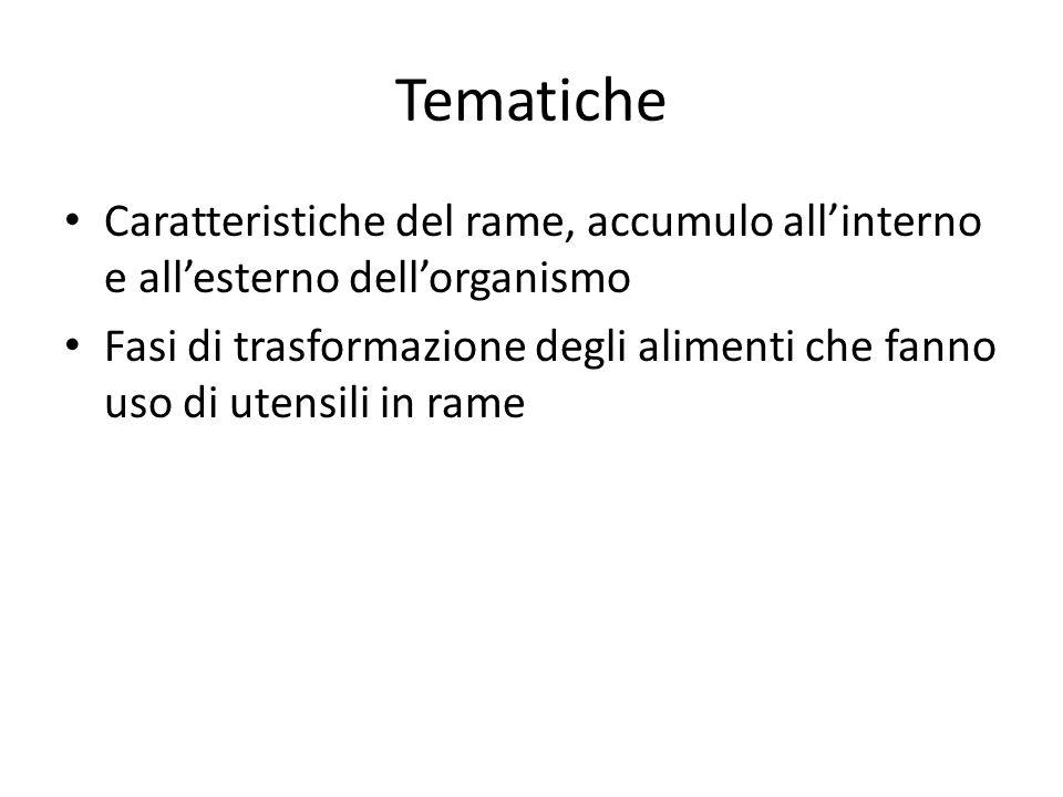 TematicheCaratteristiche del rame, accumulo all'interno e all'esterno dell'organismo.