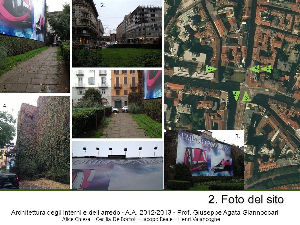 2.1. 4. 5. 1. 2. 3. 4. 5. 3. 2. Foto del sito. Architettura degli interni e dell'arredo - A.A. 2012/2013 - Prof. Giuseppe Agata Giannoccari.
