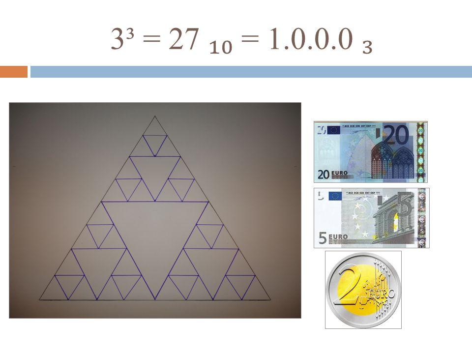 3³ = 27 ₁₀ = 1.0.0.0 ₃