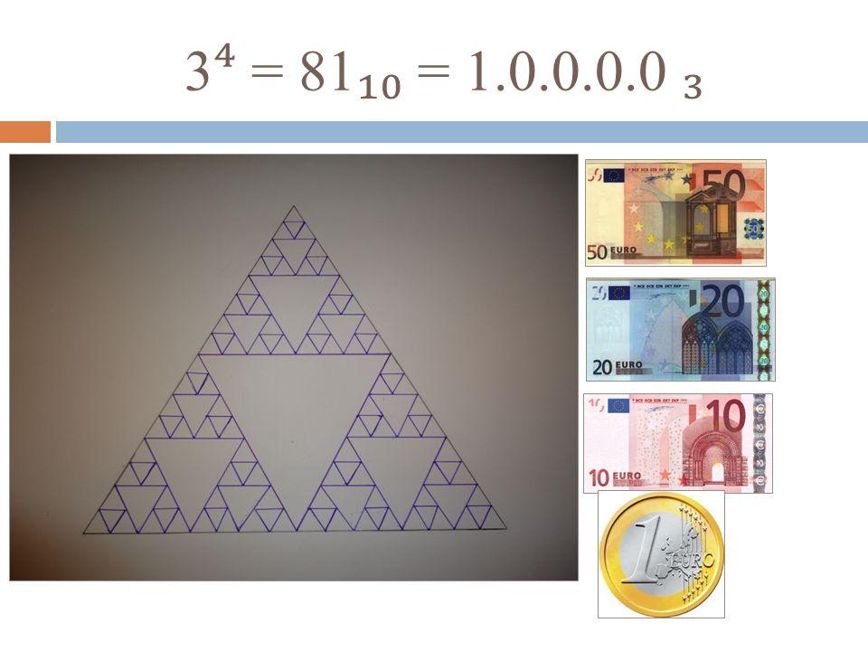 3⁴ = 81₁₀ = 1.0.0.0.0 ₃