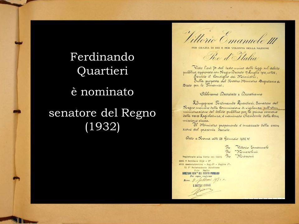 Ferdinando Quartieri è nominato senatore del Regno (1932)