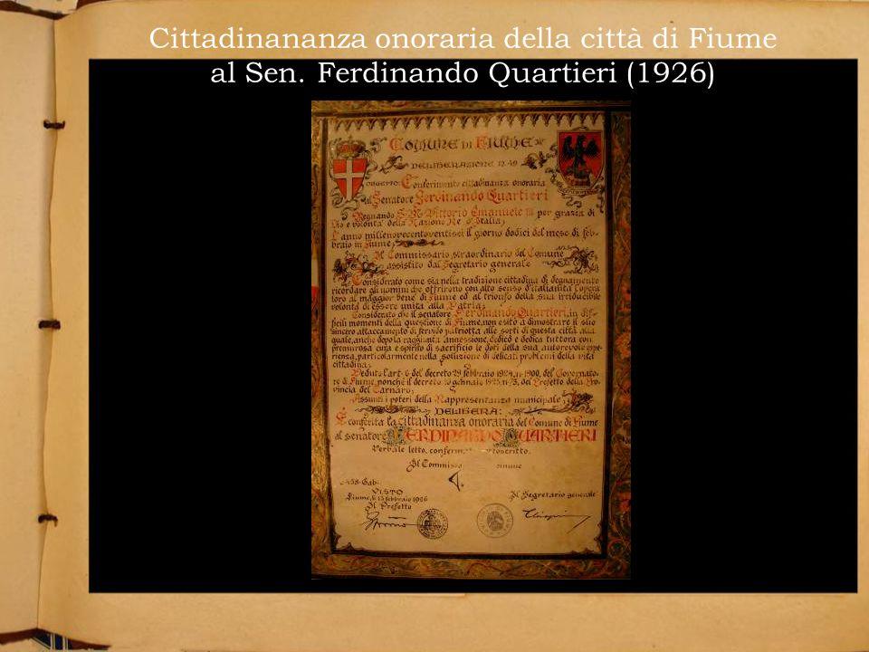 Cittadinananza onoraria della città di Fiume al Sen