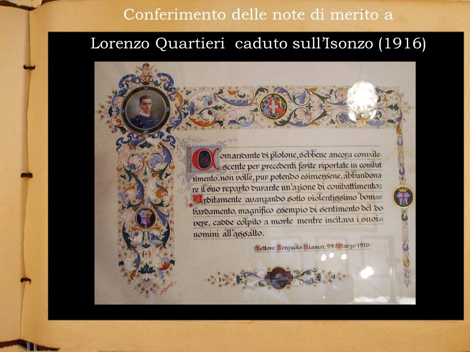 Conferimento delle note di merito a Lorenzo Quartieri caduto sull'Isonzo (1916)