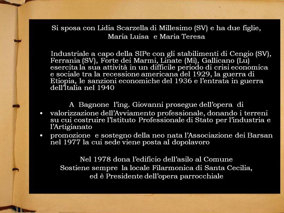 Si sposa con Lidia Scarzella di Millesimo (SV) e ha due figlie,