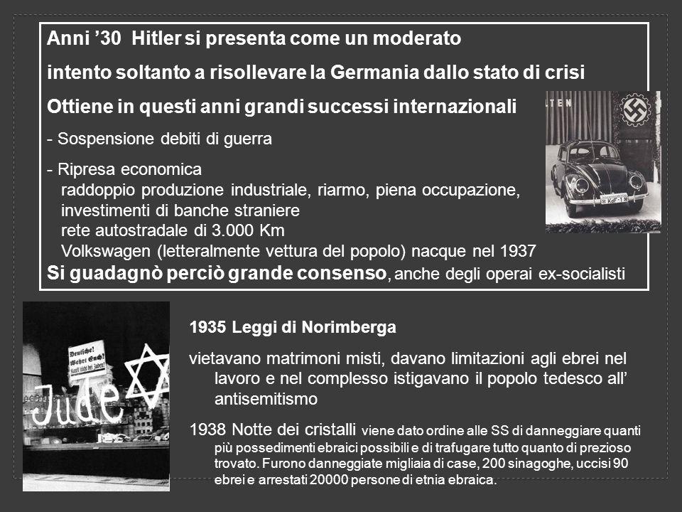 Anni '30 Hitler si presenta come un moderato