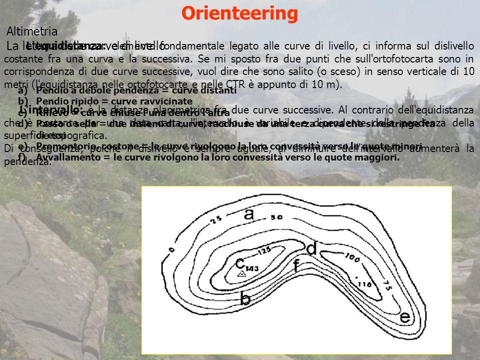Orienteering Altimetria La lettura delle curve di livello