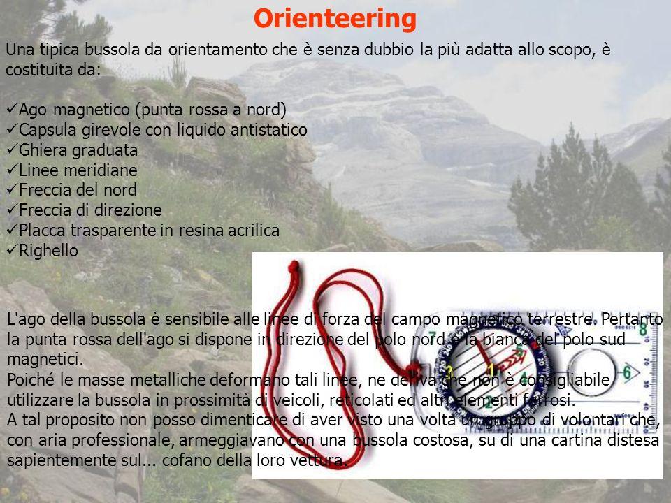 Orienteering Una tipica bussola da orientamento che è senza dubbio la più adatta allo scopo, è costituita da: