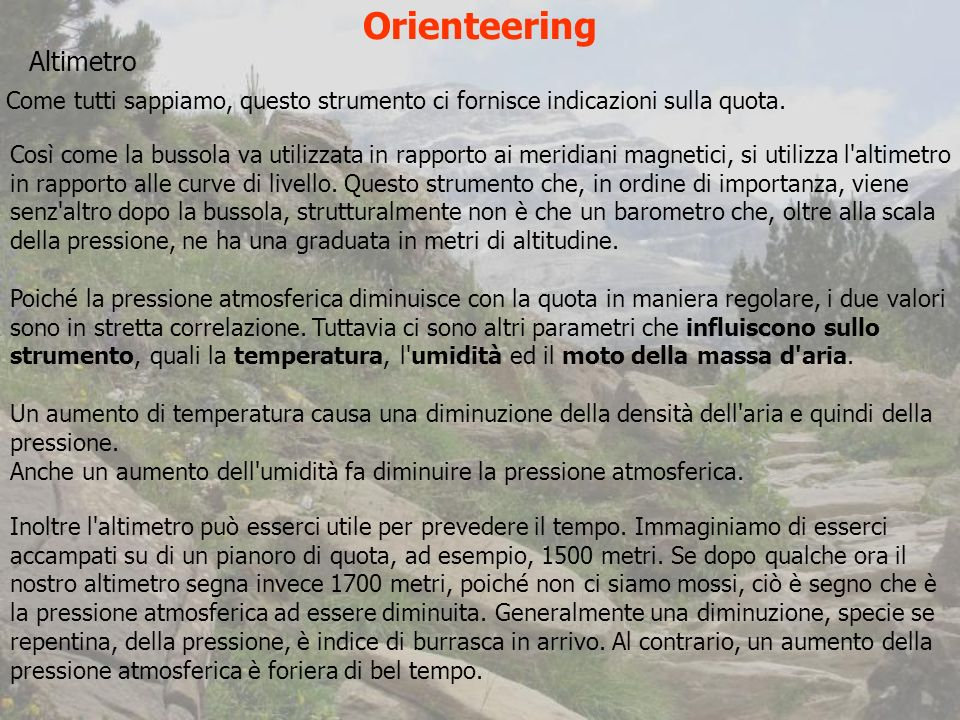 Orienteering Altimetro