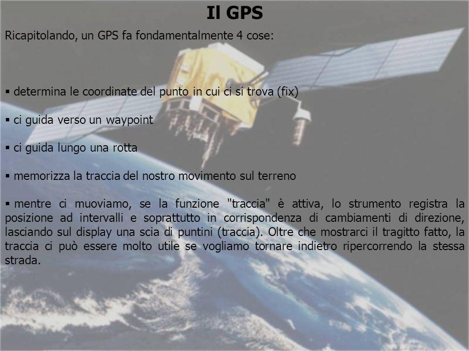 Il GPS Ricapitolando, un GPS fa fondamentalmente 4 cose: