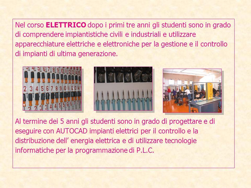 Nel corso ELETTRICO dopo i primi tre anni gli studenti sono in grado di comprendere impiantistiche civili e industriali e utilizzare apparecchiature elettriche e elettroniche per la gestione e il controllo di impianti di ultima generazione.