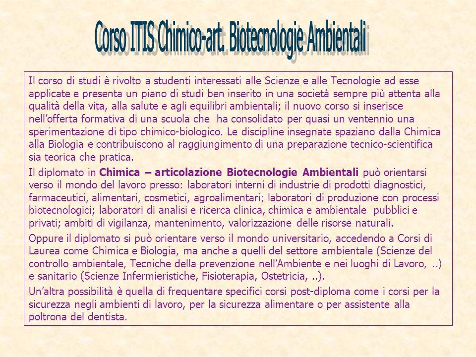 Corso ITIS Chimico-art. Biotecnologie Ambientali