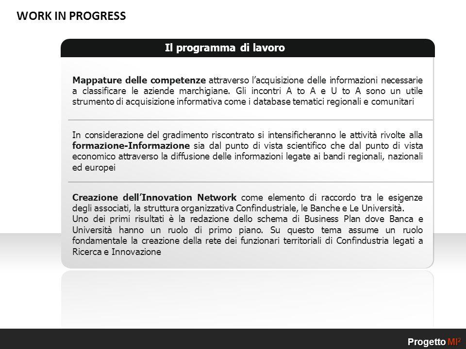 Progetto MI2 WORK IN PROGRESS Il programma di lavoro