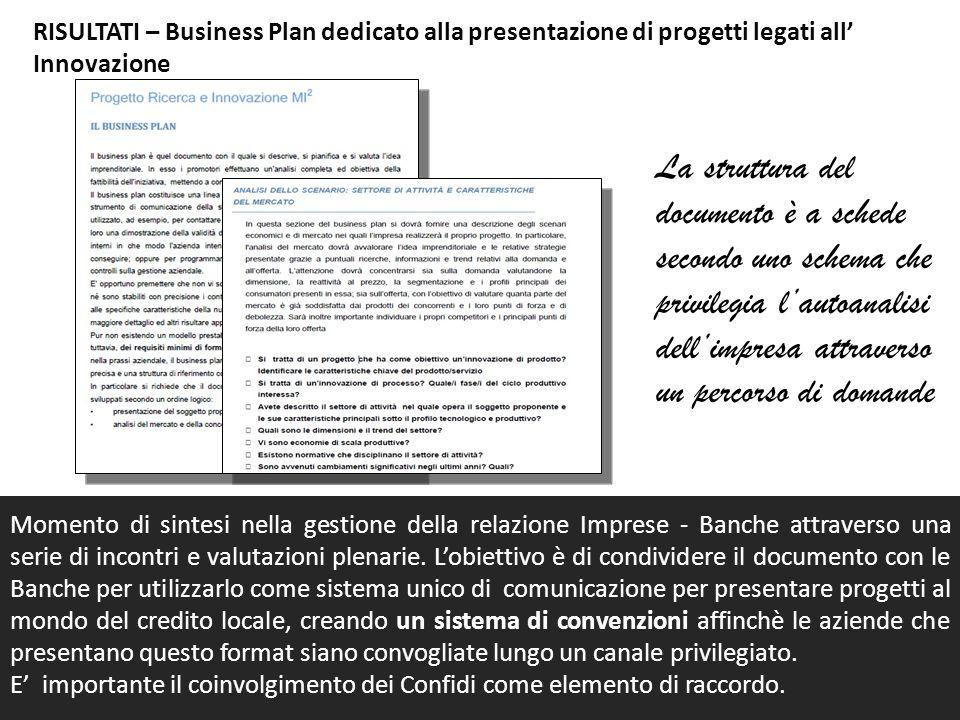 RISULTATI – Business Plan dedicato alla presentazione di progetti legati all' Innovazione