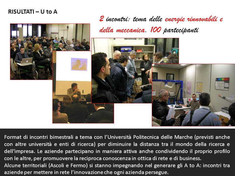 RISULTATI – U to A 2 incontri: tema delle energie rinnovabili e della meccanica. 100 partecipanti.