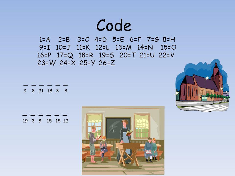 Code 1=A 2=B 3=C 4=D 5=E 6=F 7=G 8=H 9=I 10=J 11=K 12=L 13=M 14=N 15=O