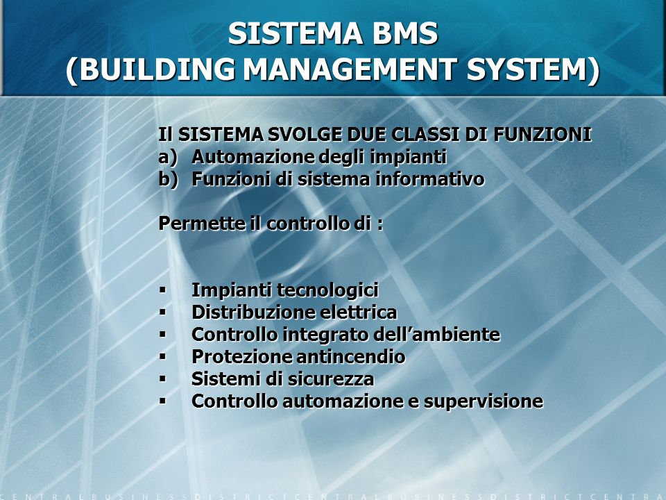 SISTEMA BMS (BUILDING MANAGEMENT SYSTEM)