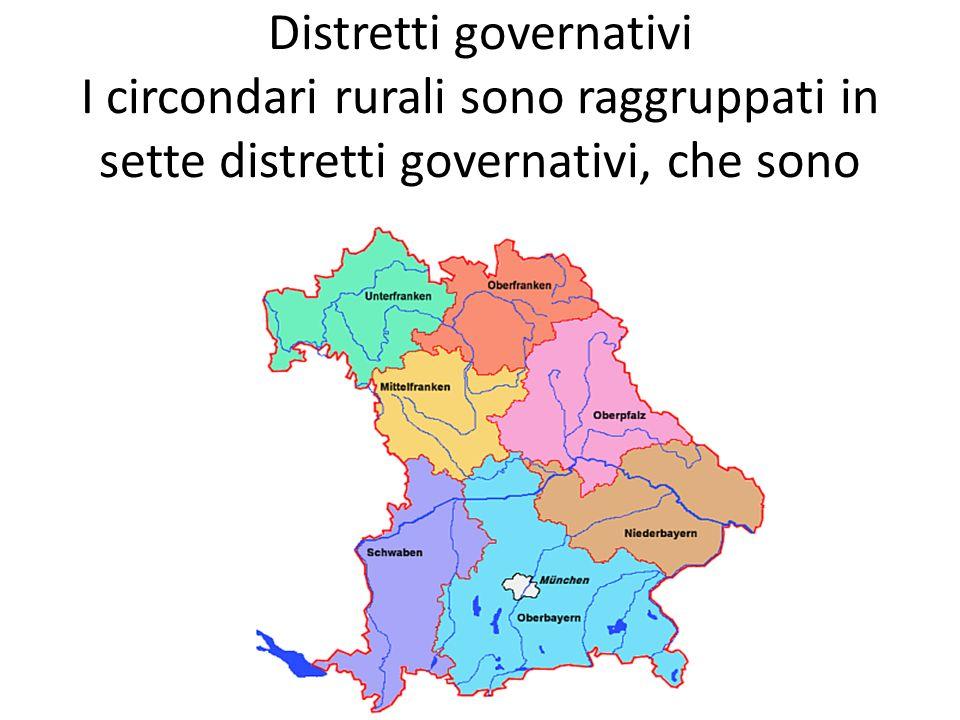 Distretti governativi I circondari rurali sono raggruppati in sette distretti governativi, che sono