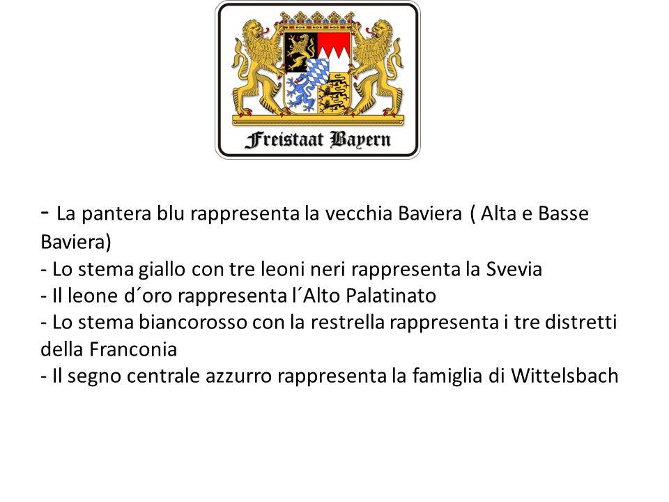 - La pantera blu rappresenta la vecchia Baviera ( Alta e Basse Baviera) - Lo stema giallo con tre leoni neri rappresenta la Svevia - Il leone d´oro rappresenta l´Alto Palatinato - Lo stema biancorosso con la restrella rappresenta i tre distretti della Franconia - Il segno centrale azzurro rappresenta la famiglia di Wittelsbach