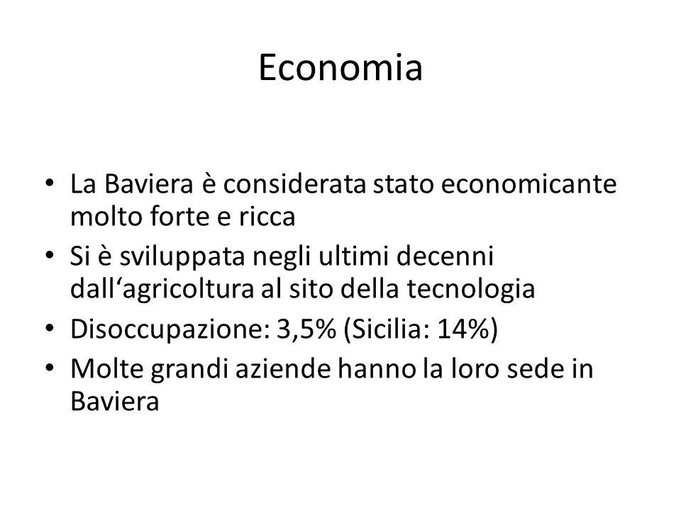 Economia La Baviera è considerata stato economicante molto forte e ricca.