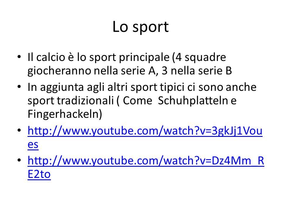 Lo sport Il calcio è lo sport principale (4 squadre giocheranno nella serie A, 3 nella serie B.