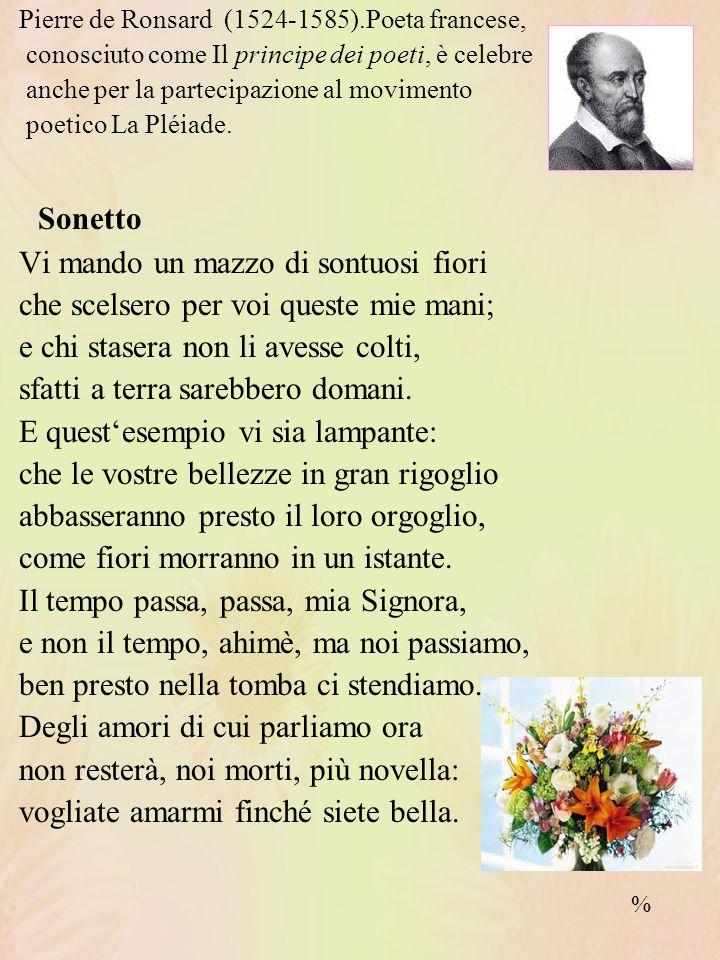 Sonetto Vi mando un mazzo di sontuosi fiori