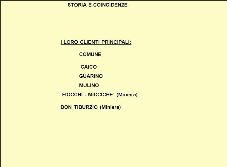 STORIA E COINCIDENZE I LORO CLIENTI PRINCIPALI: COMUNE CAICO. GUARINO.
