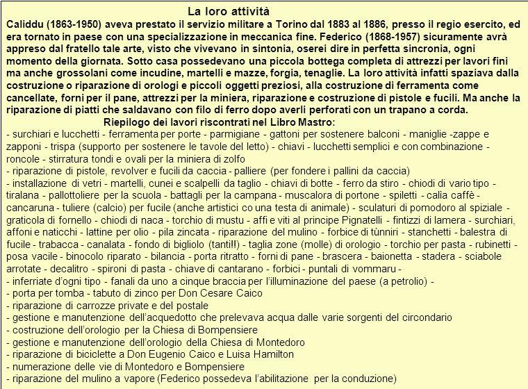 La loro attività Caliddu (1863-1950) aveva prestato il servizio militare a Torino dal 1883 al 1886, presso il regio esercito, ed era tornato in paese con una specializzazione in meccanica fine.