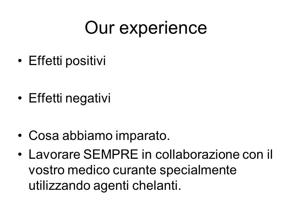 Our experience Effetti positivi Effetti negativi