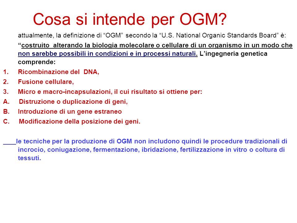 Cosa si intende per OGM attualmente, la definizione di OGM secondo la U.S. National Organic Standards Board è: