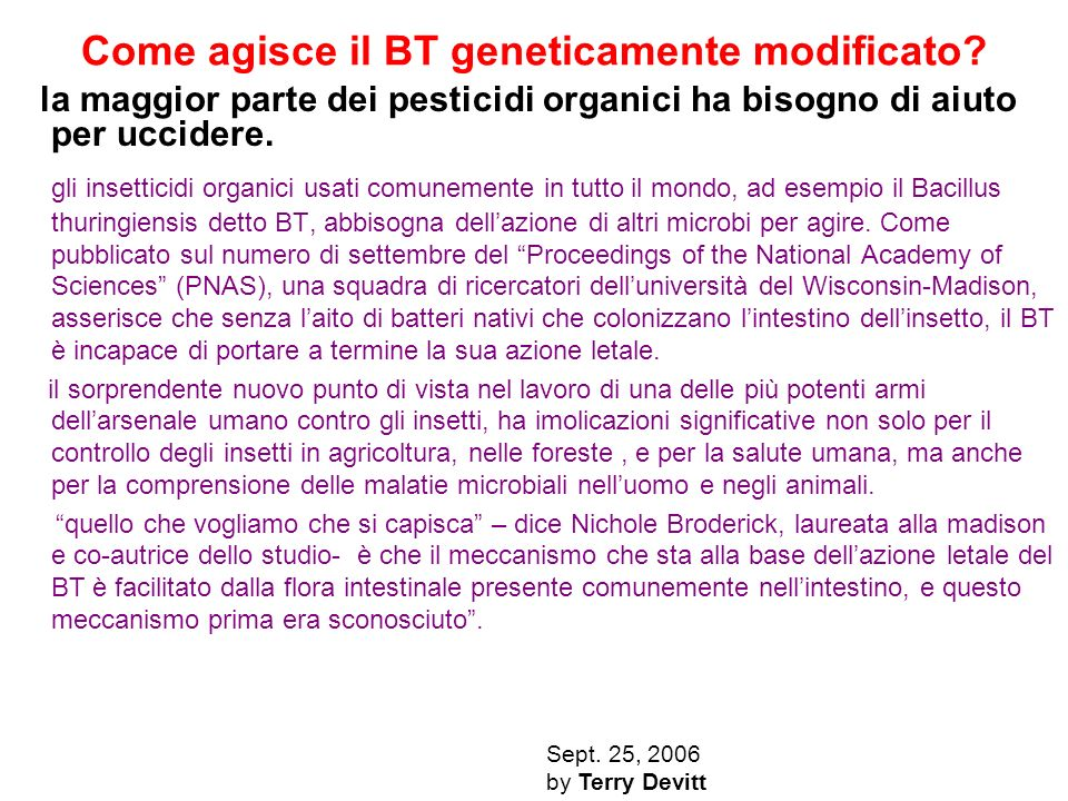 Come agisce il BT geneticamente modificato