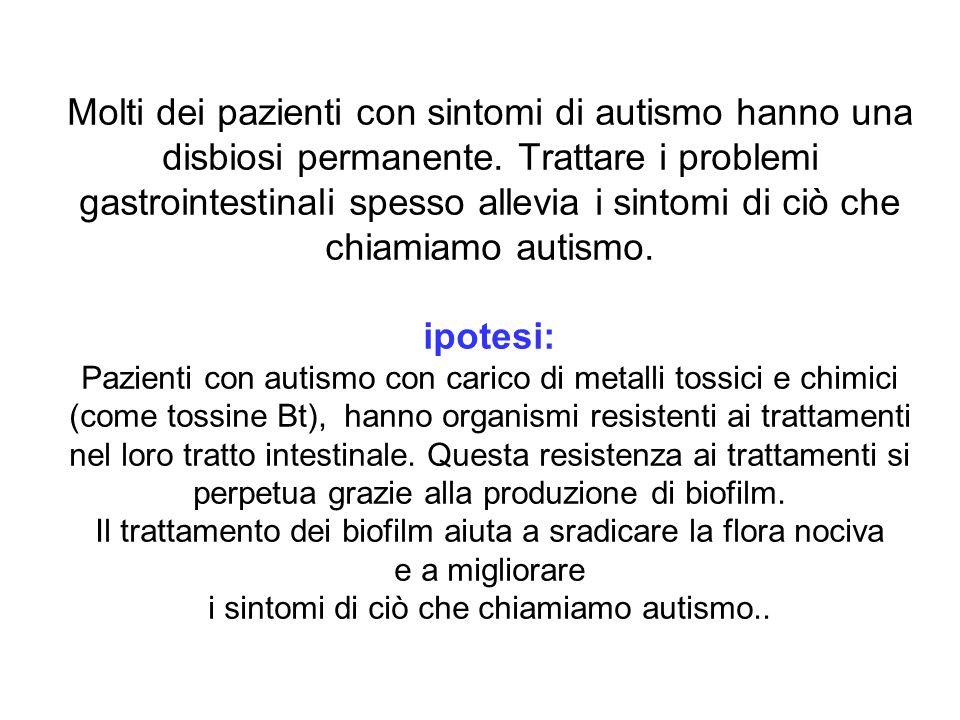Molti dei pazienti con sintomi di autismo hanno una disbiosi permanente.