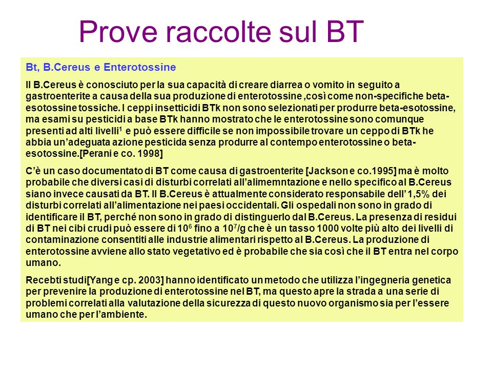Prove raccolte sul BT Bt, B.Cereus e Enterotossine