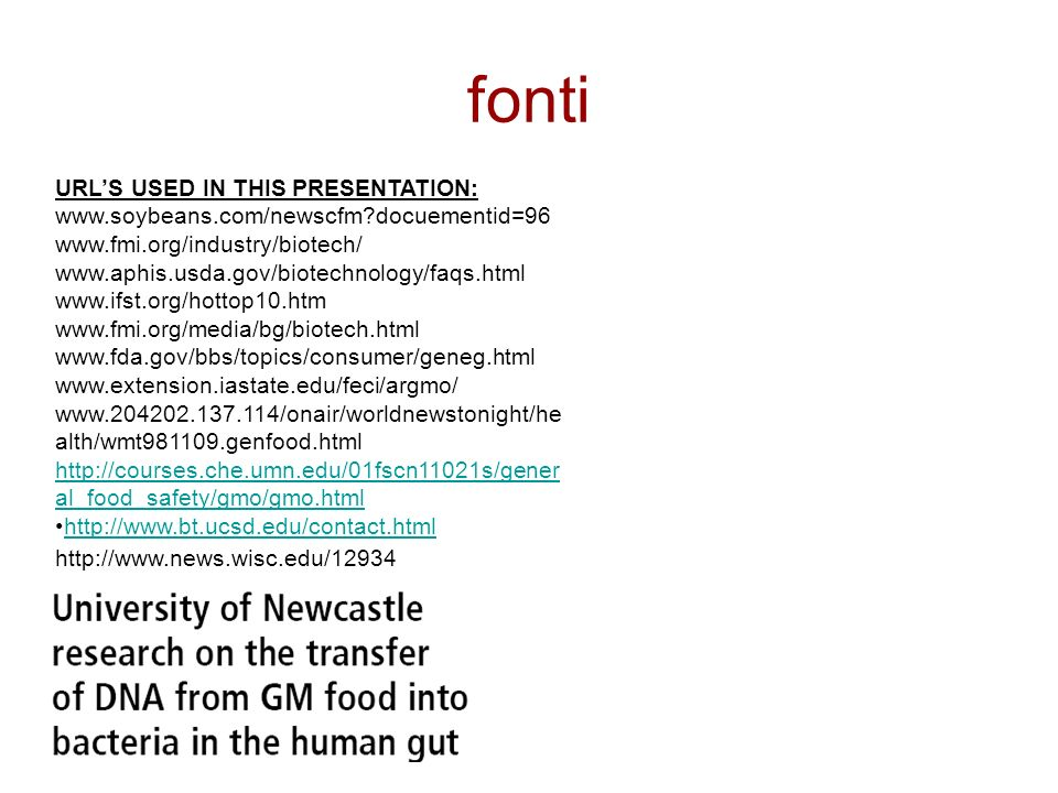 fonti URL'S USED IN THIS PRESENTATION: