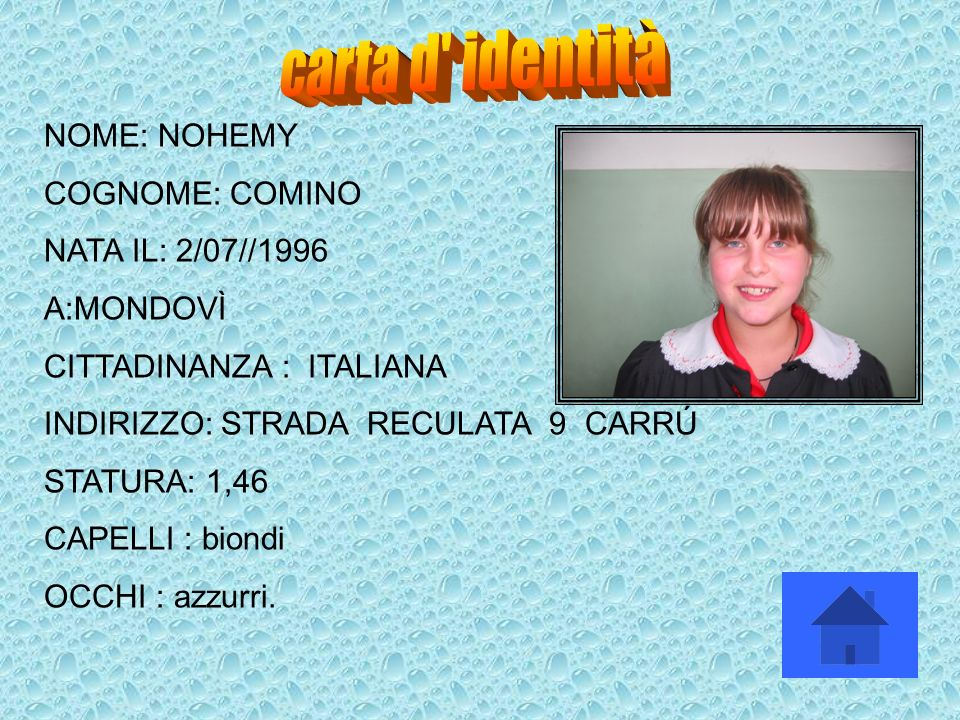 carta d identità NOME: NOHEMY COGNOME: COMINO NATA IL: 2/07//1996