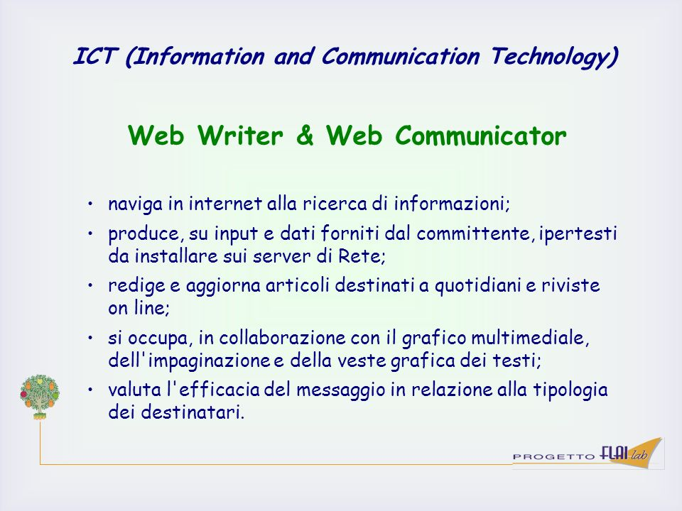 Web Writer & Web Communicator
