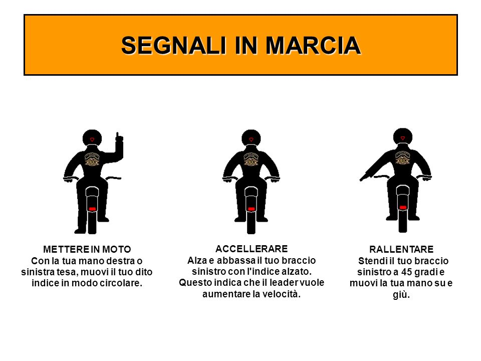 SEGNALI IN MARCIA METTERE IN MOTO